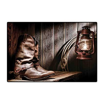 df3e39a75 Western Door Mat Small Rug Dallas Cowboys and Lantern on a Bench in Vintage  Ranch Nostalgic
