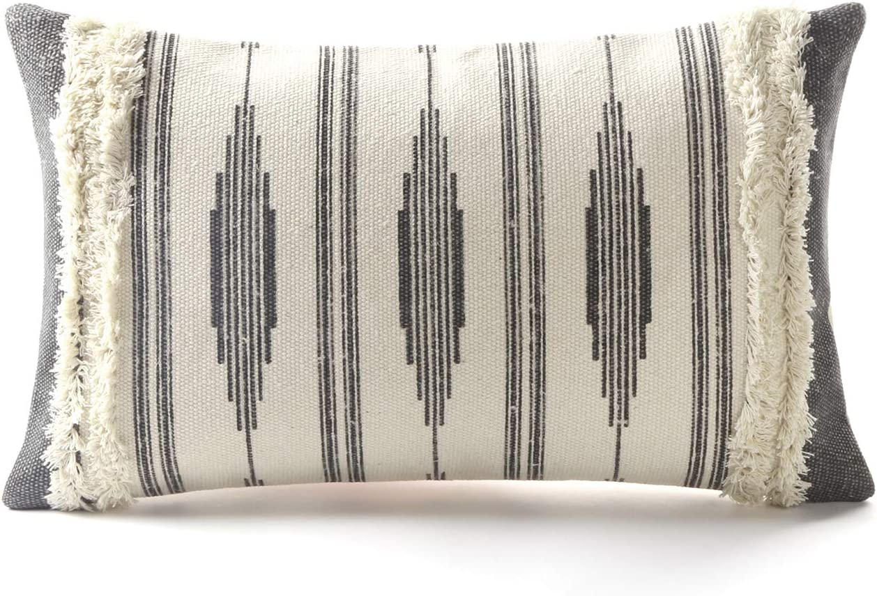 Ailsan Decorative Pillow Covers Grey Nordic Printed Woven Tufted Couch Pillow Cover 12x20 Inch Geometric Stripes Throw Pillow Covers For Sofa Couch Bedroom Farmhouse Pillows Case Home Kitchen