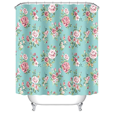 Uphome Pink Rose Flower With Leaves Customized Bathroom Shower Curtain    Aqua Waterproof And Mildewproof Polyester