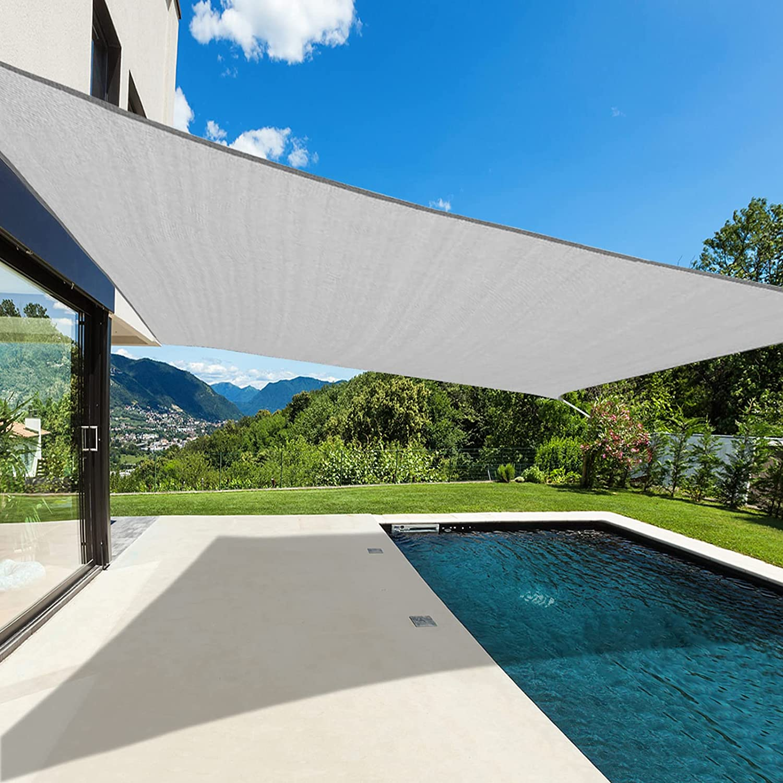 Cisvio Sun Shade Sail Canopy UV Block Awning Shelter Fabric Cloth Screen for Outdoor Patio Garden Backyard (12X16, Grey)