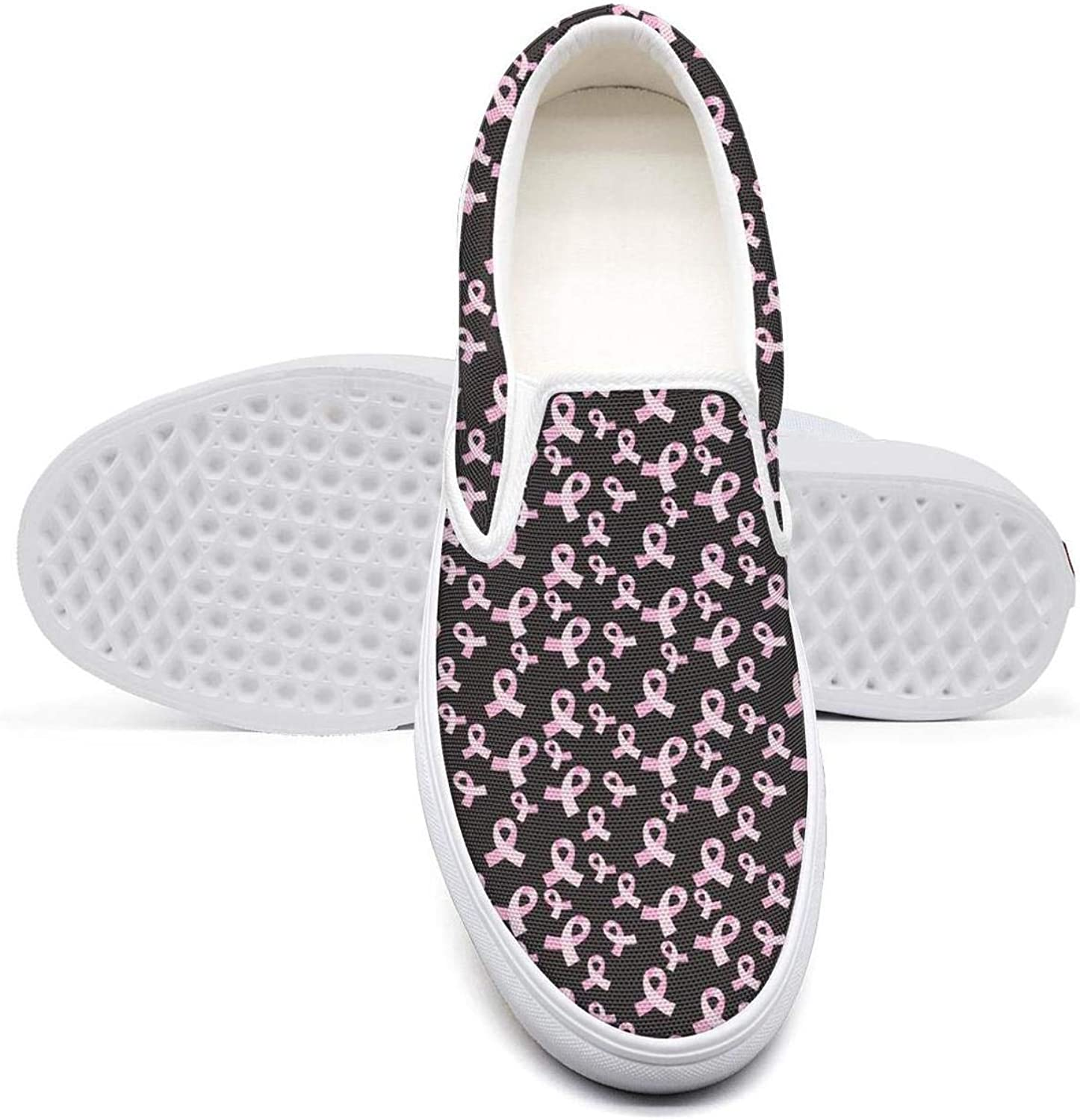 Breast Cancer Background Classic Canvas Shoes Slip On Skate Sneakers Womens Fashion Print Cool Durable Shoe