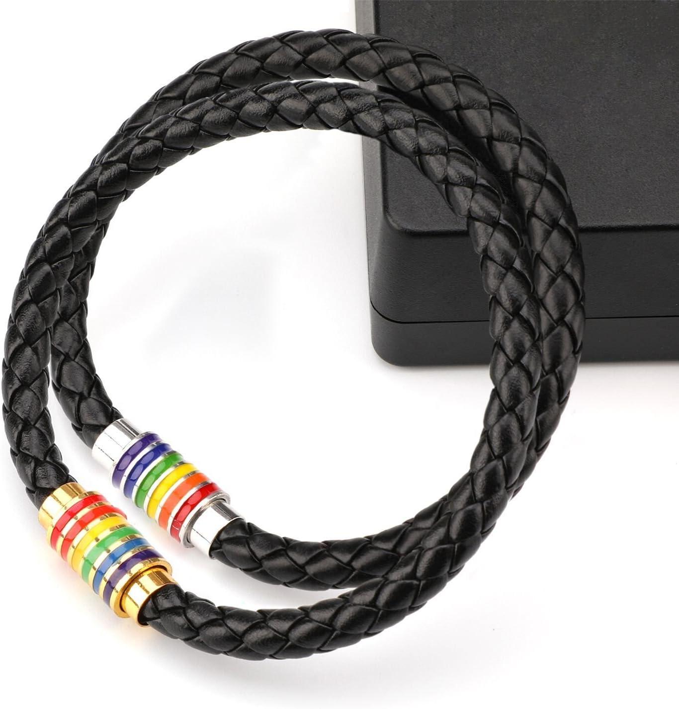 PHOGARY Bracelet De Fiert/é Gay LGBT Arc-en-Bracelet 2 Packs Couple Bracelet en Cuir Noir Hommes Bracelet De Femmes avec Arc-en-Ciel Ray/é en Acier Inoxydable Fermoir Magn/étique 22cm