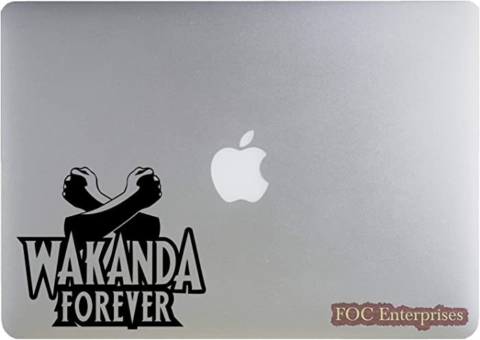 "Wakanda Forever Black Panther Decal Vinyl Sticker for MacBook Laptop Car Truck Window Bumper - Image Shown on a 13"" Mac"