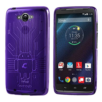 Droid Turbo Case, Cruzerlite Bugdroid Circuit TPU Case Compatible with Compatible with Motorola Moto Droid Turbo XT1254 (Verizon) - Purple