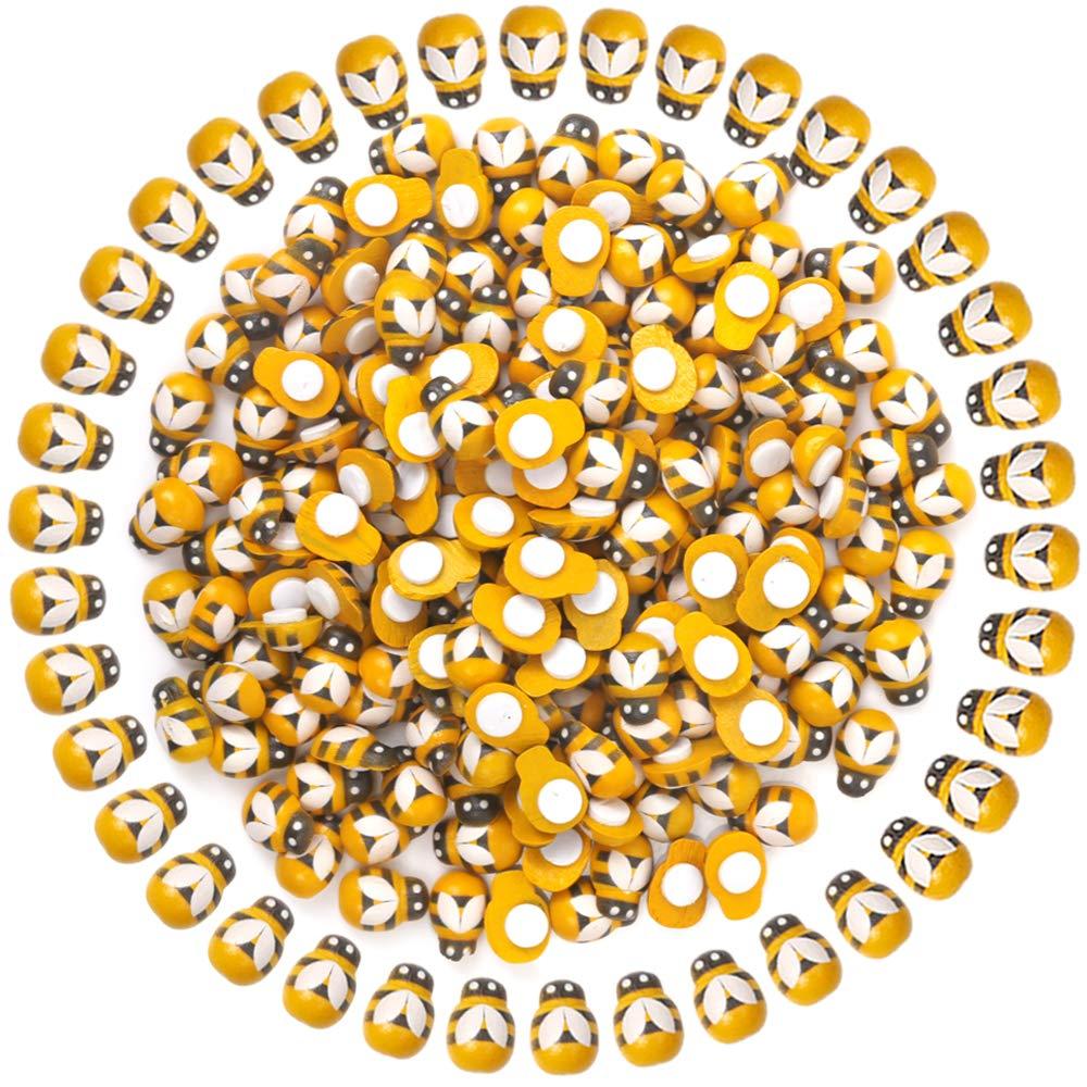 YGDZ 200 Pack Tiny Wooden Bee Flatback Embellishment Self-Adhesive for Craft Scrapbooking DIY Decor