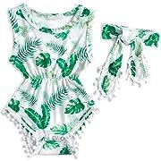 6-12 Months Baby Girls Summer Fun Prints Geometric Banana Leave Print Ruffles Bubble Romper Bodysuit with Headband Summer Outfits Gemstone Green
