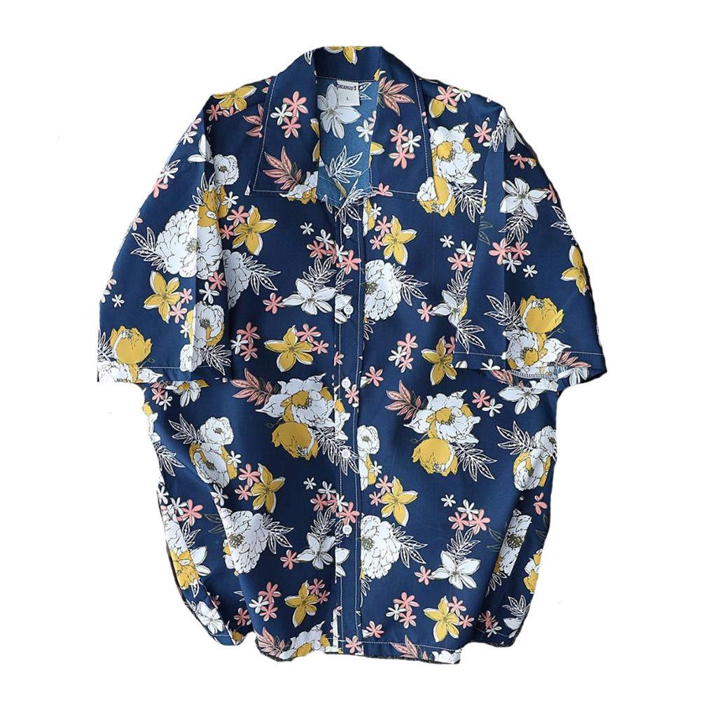 Asian-Size4,XXXL QHF Mens Hawaiian Printed Shirt Mens Short Sleeve Fast Drying Casual Beach Shirts