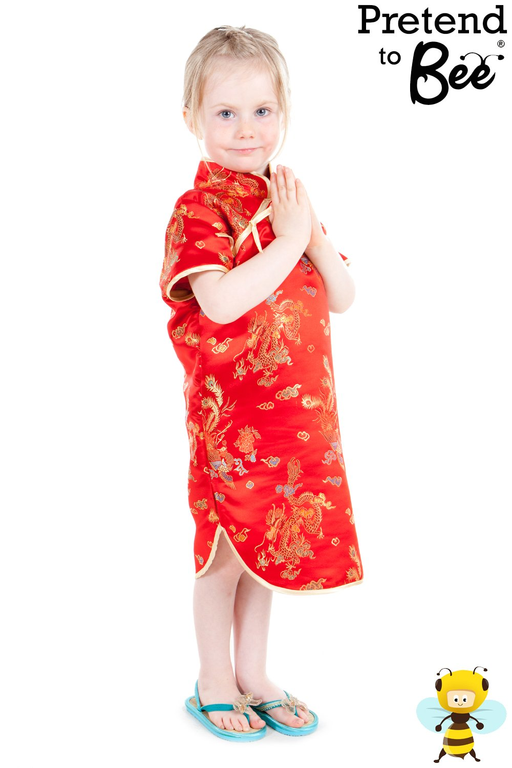 Girls Lucky Red Chinese New Year Traditional Oriental Dress Costume 3 - 5  Years: Pretend to Bee: Amazon.co.uk: Toys & Games