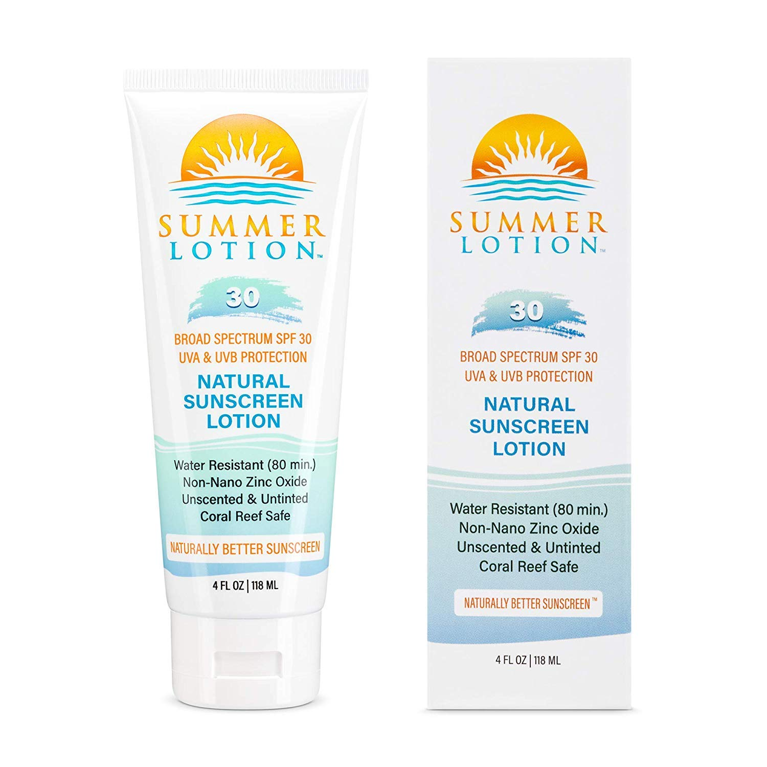 Summer Lotion - Natural Sunscreen Lotion with Zinc Oxide SPF 30 - UVA/UVB – 4 oz