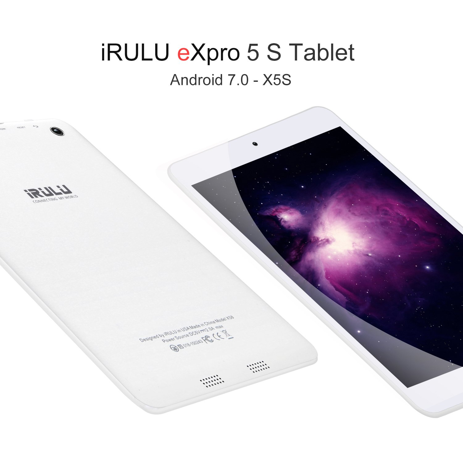 """7.85"""" Tablet Android Google 7.0, 1GB/16GB, 1.3gHz Quad Core,768x1024 IPS HD Display,Dual Camera, Microsoft Mini HDMI Bluetooth G-Sensor Supported,GMS Certified,iRULU eXpro 5 S Tablet (X5 S)-White by iRULU (Image #3)"""