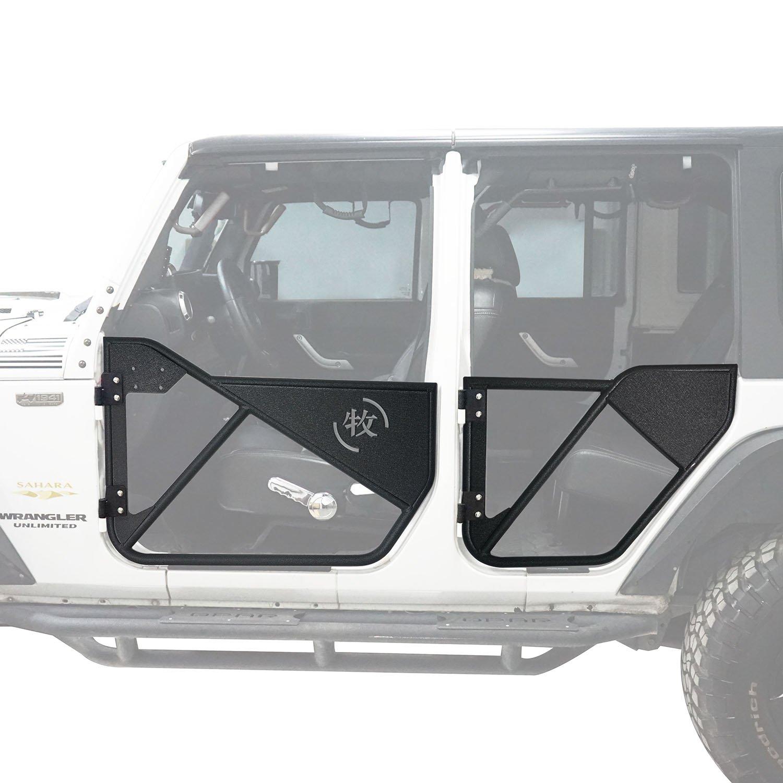 Offroad Front & Rear Tubular Half Doors Textured Black Steel for 2007-2018 Jeep Wrangler JK Unlimited (4-Door)