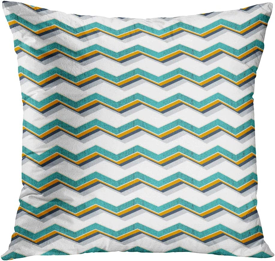 Qryipd Aqua Zigzag Throw Pillow Cover Square 20 X 20 Inch Tracery Calming Mehendi Africa American Ancient Antique Aqua Beige Cushion Home Decor Living Room Bedroom Office Polyester Pillowcase