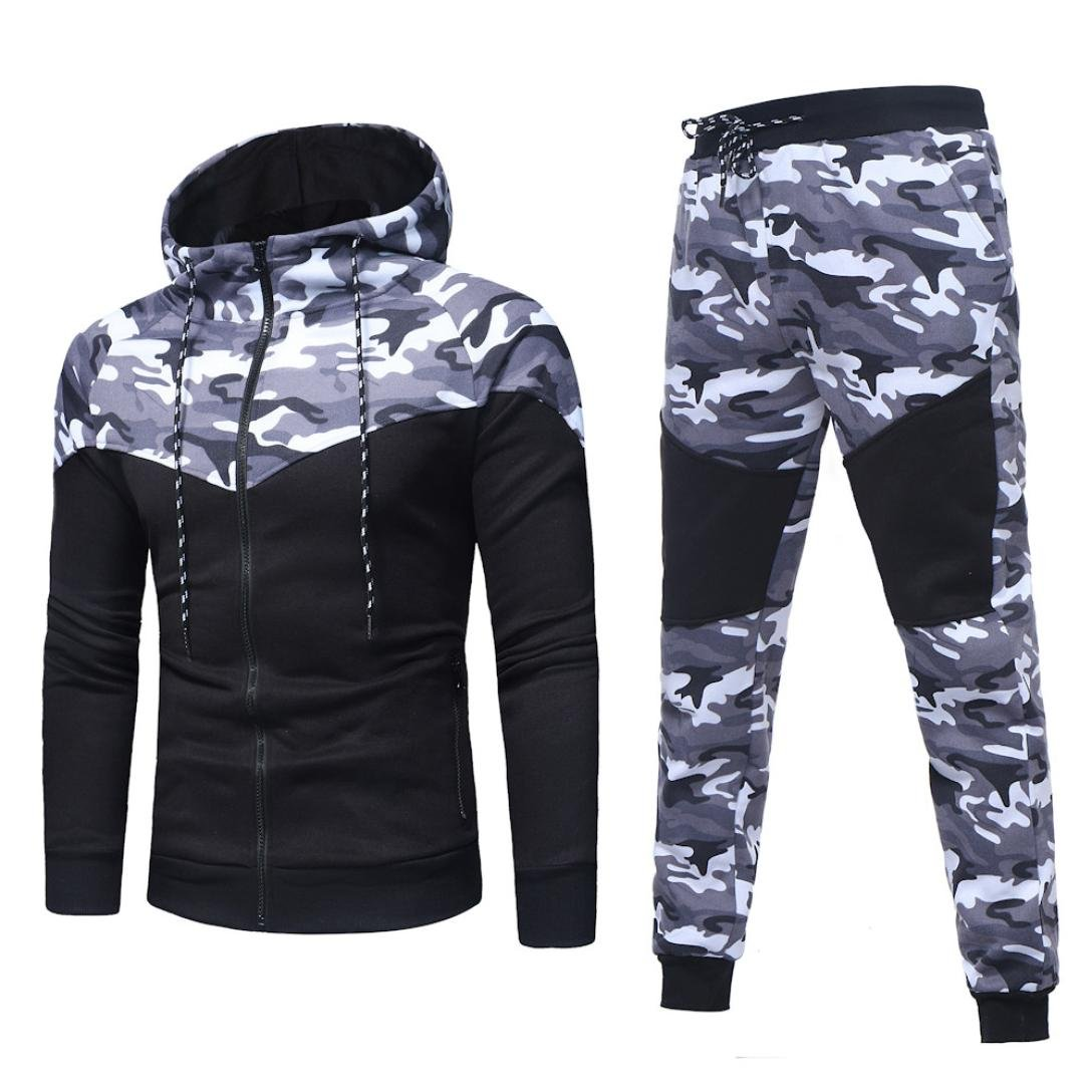Sports Suit,Caopixx Men's Autumn Winter Camouflage Sweatshirt Top Pants Sets Tracksuit (Asia Size L=US Size M, Black(Tracksuit))