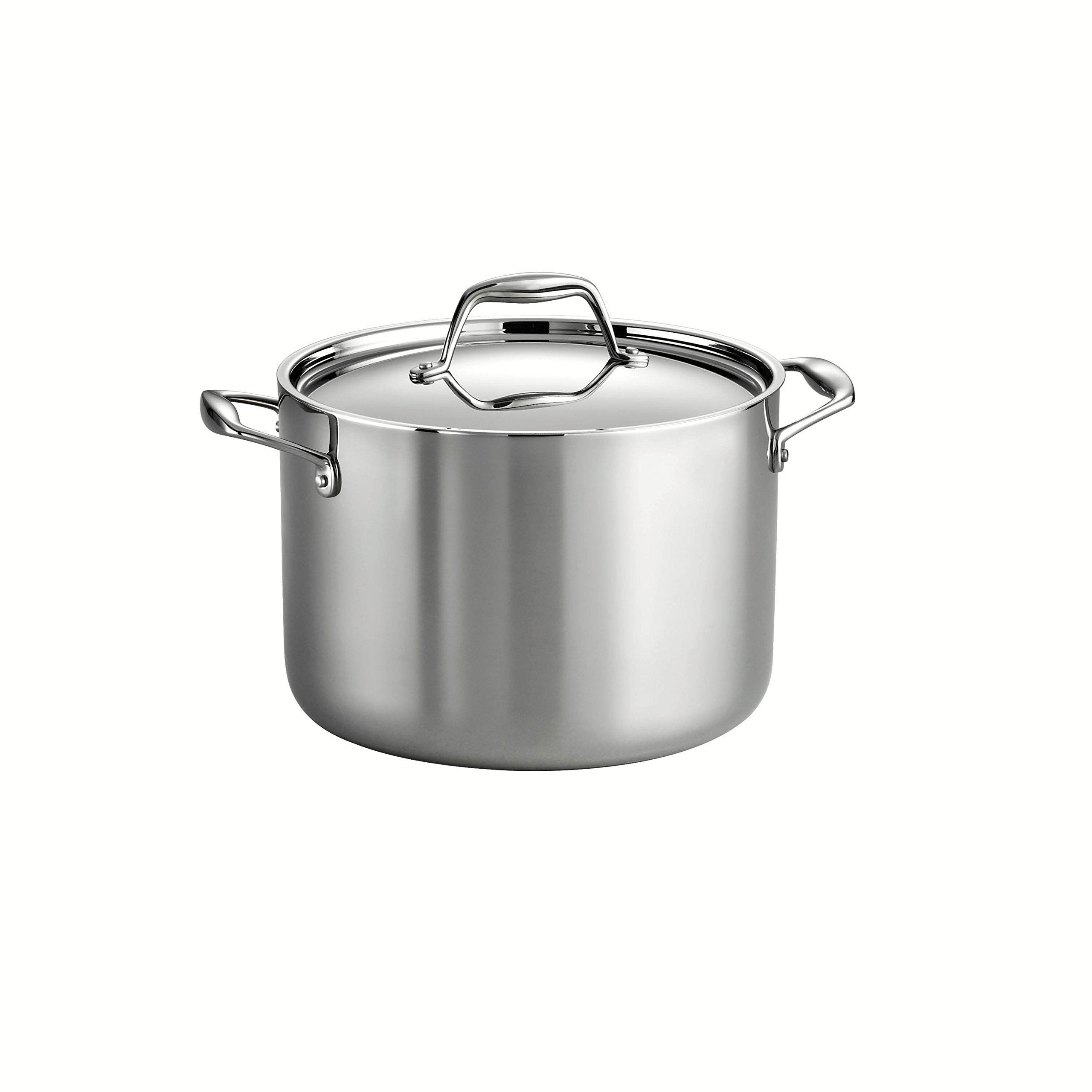 Tramontina 80116/041DS Gourmet 18/10 Stainless Steel Induction-Ready Tri-Ply Clad Covered Stock Pot, 8-Quart, NSF-Certified, Made in Brazil by Tramontina (Image #1)