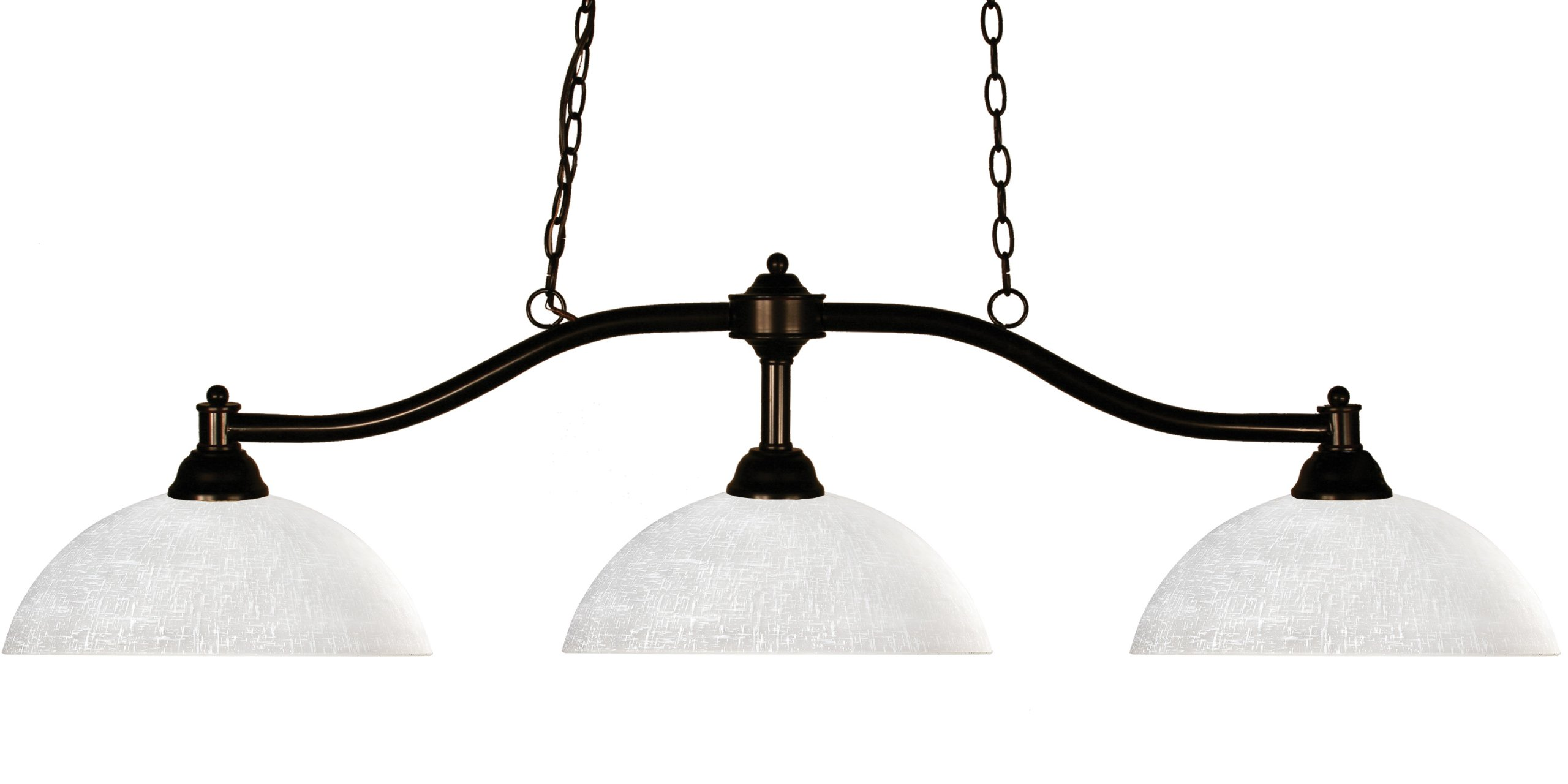 Z-Lite 147BRZ-DWL14 Chance Three Light Billiard, Steel Frame, Bronze Finish and White Linen Shade of Glass Material