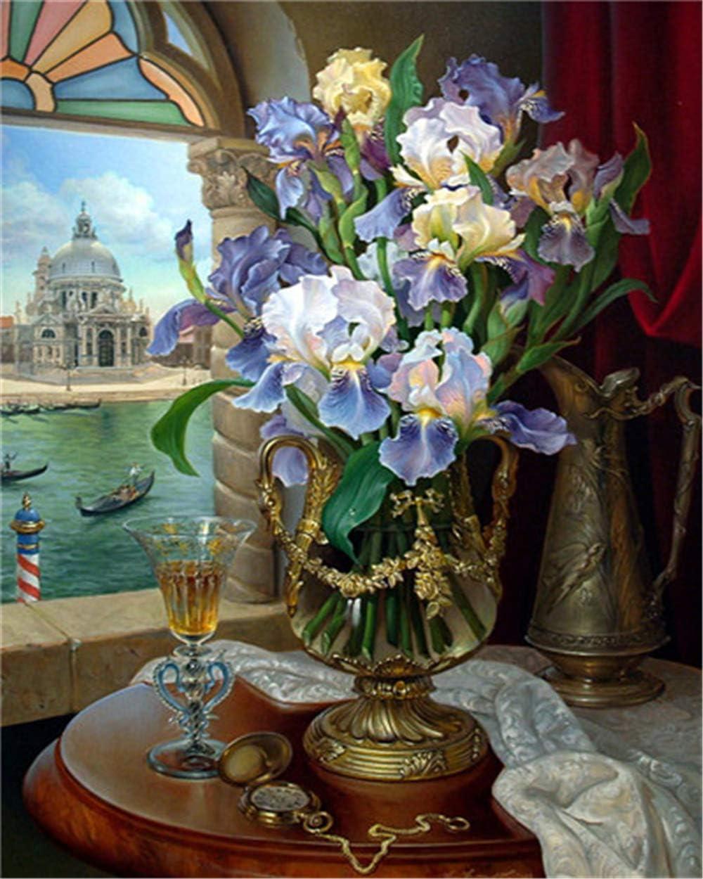 YEESAM ART DIY /Ölgem/älde Malen nach Zahlen Erwachsene Kinder Blumen, mit Rahmen Blumen /& Wein Landschaft vor dem Fenster Zahlenmalerei ab 5 /Öl Wandkunst
