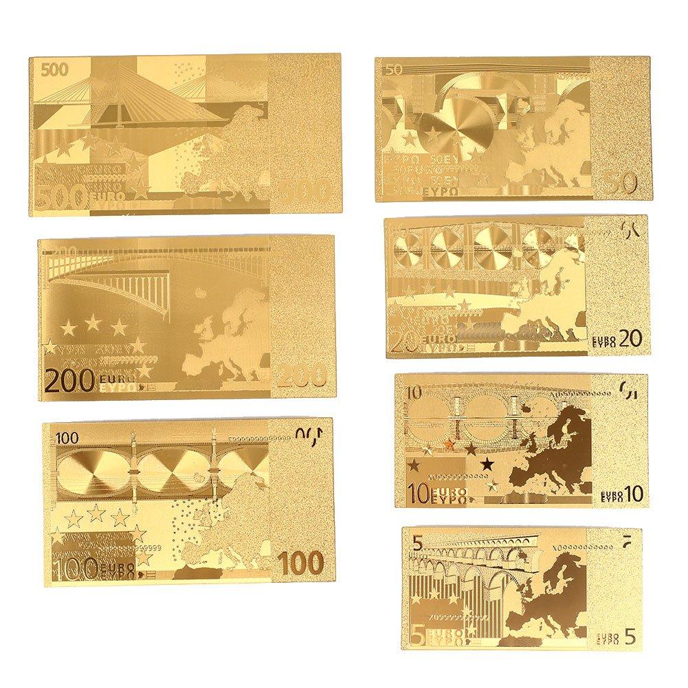 Leaftree 8PCS Banconote Decorazione di Alta qualit/à 5 10 20 50 100 200 500 Euro 24K Placcato Oro Euro Antique Home Decoration Oro