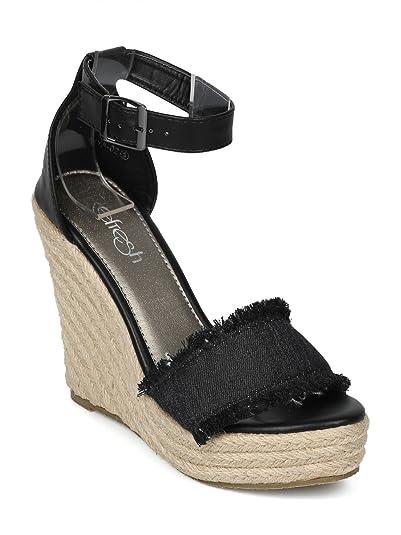 04edf04ffc7 Alrisco Women Open Toe Frayed Ankle Strap Espadrille Platform Wedge Sandal  HH27 - Black Mix Media