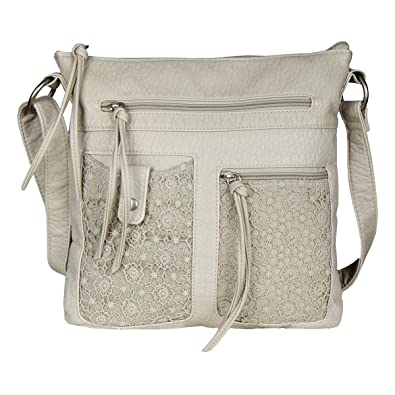 Large Nude Lace Crossbody Messenger Bag Purse - Faux Leather Handbag   Handbags  Amazon.com e140dad51136e