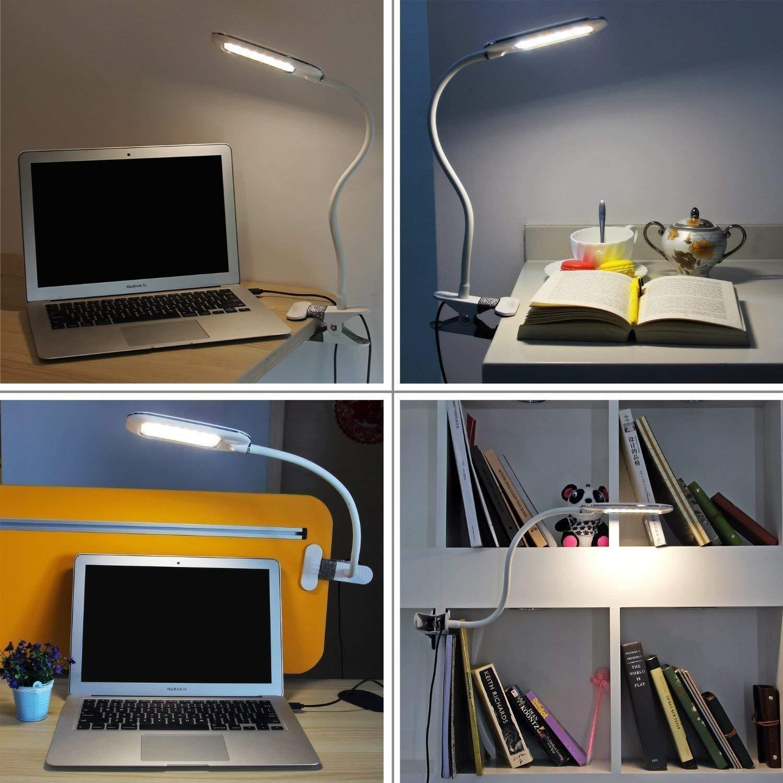 Lampe-clip LED Blanc Lampe de Lecture Enfant au lit Lampe de Bureau USB Travailler Lire Lampe de Chevet Rechargeable Tactile avec 3 type de Lumi/ères Flexible 360 Degr/és Pour Apprendre