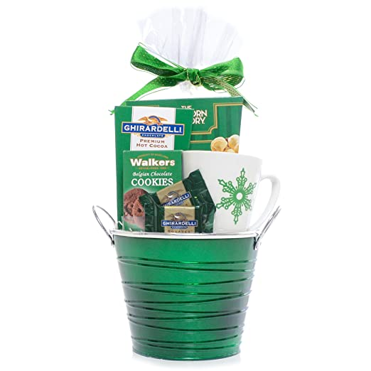 Holiday Cheer Green Themed Gift Basket - Ghirardelli Chocolate, cocoa, Walkers Cookies and The Popcorn Factory Kettle Corn with Snowflake Coffee Mug - Damage-Free Guarantee