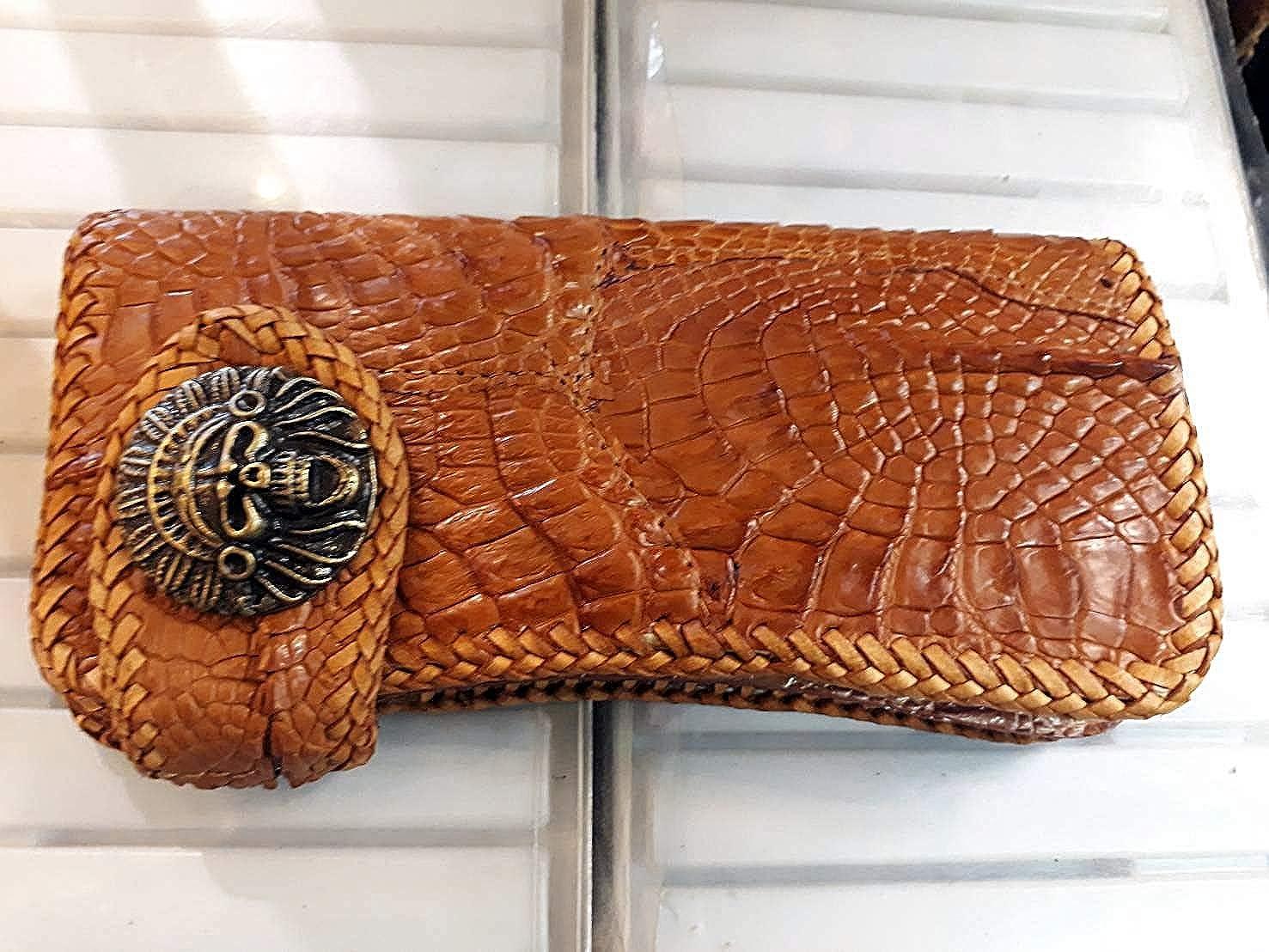 Dark Brown GENUINE Alligator CROCODILE Leather Skin MEN/'S BIFOLD WALLET