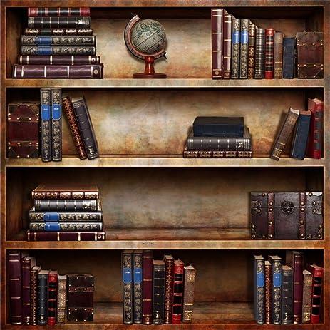 AOFOTO 8x8ft Retro Bookcase Backdrop Vintage Bookshelf Photography Background Books Boy Adult Man Girl Artistic Portrait