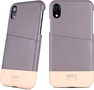 Alto Metro Phone Case for iPhone XR (6.1 inch), Premium Handmade Italian Leather Wallet Case with Card Holder Design (Cement Gray/Original)