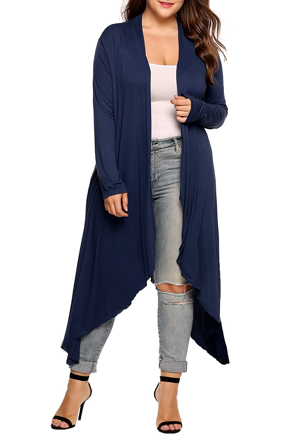 INVOLAND Womens Plus Size Cardigan Long Sleeve Open Front Drape Cardigans Lightweight Long Duster