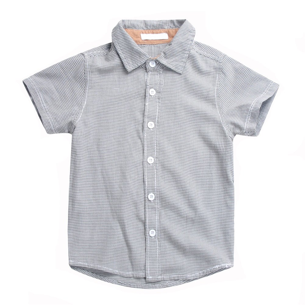 Boys Plaid Button Down Shirts Turn-Down Collar Short Sleeve Cotton Tops Color Grey Size 6A