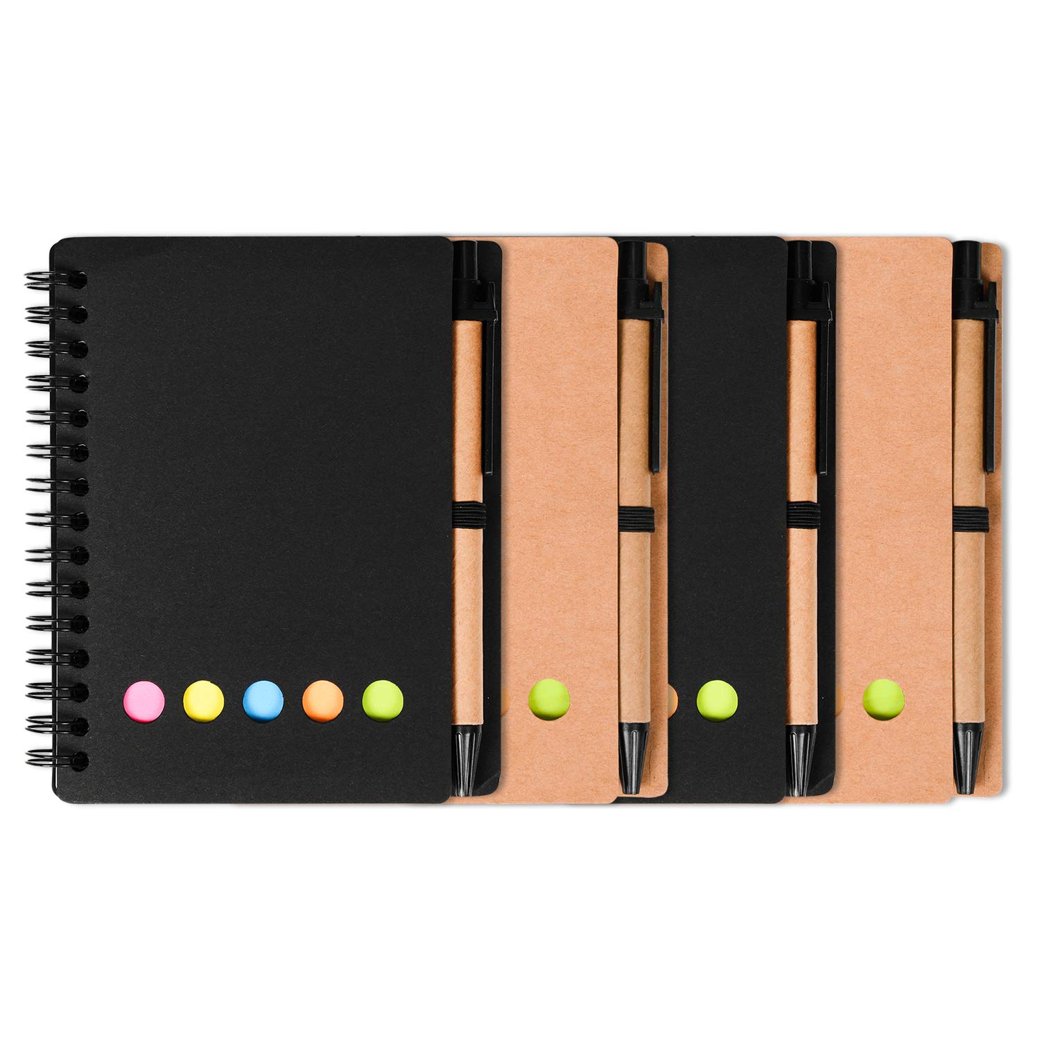 4 Packs 4.5''x5.5'' Spiral Notebook college ruled Pocket notebook Spiral Lined Notepad Set with Pen Loop and Sticky Notes, Page Marker Colored Index Tabs Flags Black and Brown Cover