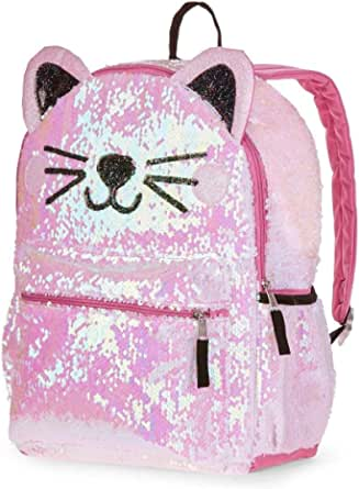 "2 Way Sequin Kitty Cat Backpack for Girls Teens ~ Premium 16"" Kitten School Bag with Reversible Sequins and 3D Cat Ears (Kitty School Supplies Bundle)"