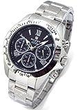 Don Clark ダンクラーク メンズ腕時計 クロノグラフ 10気圧防水 天然ダイヤ1P 本革ブレス付 ブラックローマダイヤル DM2051007S [並行輸入品]