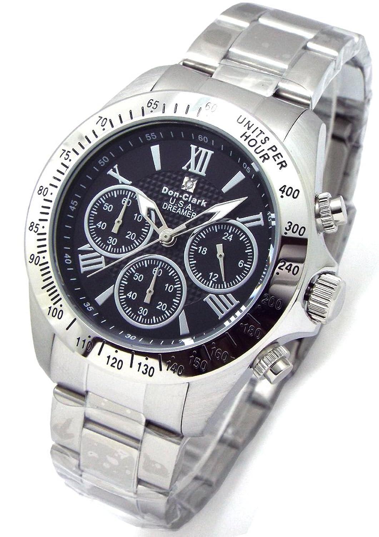 Don Clark ダンクラーク メンズ腕時計 クロノグラフ 10気圧防水 天然ダイヤ1P 本革ブレス付 ブラックローマダイヤル DM2051007S [並行輸入品] B01B47EUUS