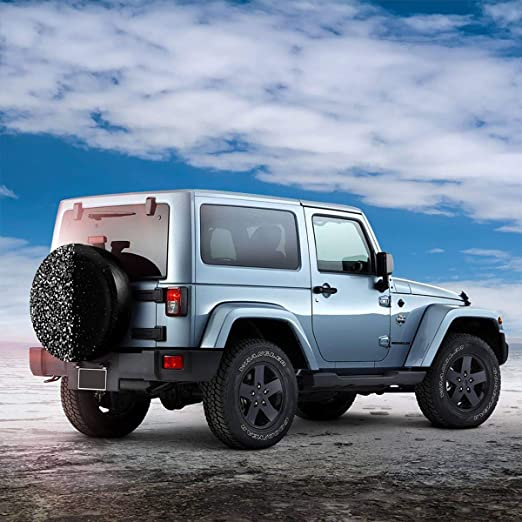 Black and White Feather Universal Spare Tire Cover Wheel Protectors Waterproof Black Leather Fit for Jeep Wrangler Sahara Camper Travel Trailer RV SUV Truck 14inch