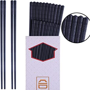 Antner 10 Pairs Fiberglass Chopsticks - Reusable Chopsticks Dishwasher Safe, Non-slip Japanese Chinese Korean Chop Sticks, 9 1/2 Inch - Black