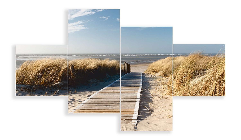 Artland Qualitätsbilder I Glasbilder Deko Glas Bilder 120x70 cm mehrteilig Landschaften Strand Foto Creme D8PV Nordseestrand auf Langeoog - Steg