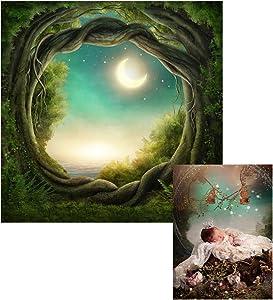 Leowefowa Fairytale Tree Hole Backdrop 5x5ft Bright Moonlight Seaside Forest Children Fairy Party Photography Background Kids Baby Birthday Baby Shower Party Decor Cake Smash Studio Photo Props