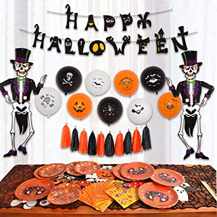 Tassels Included for Halloween Party InnoWis Banner 85 pcs Halloween Party Supplies Fun Party Favor Decorations Large Pack of Hanging Skeleton Props Napkins Photo Props Plates Balloons