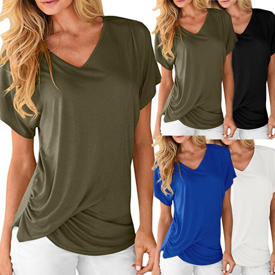 9305defe7e Beautyjourney T-Shirt Uni Femme, Blouses Femmes Femmes V-Neck Manches  Courtes DrapéEs Plaine Ruché Casual T-Shirts Polo Bicolor Femme (S, Vert  d'armée): ...