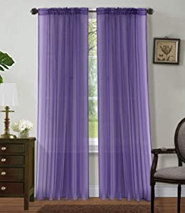 """Sapphire Home 2 Panels Window Sheer Curtains 54"""" x 84"""" Inches (108"""" Total Width), Voile Panels for Bedroom Living Room, Rod Pocket, Decorative Curtains, Solid Sheer Curtains Purple"""