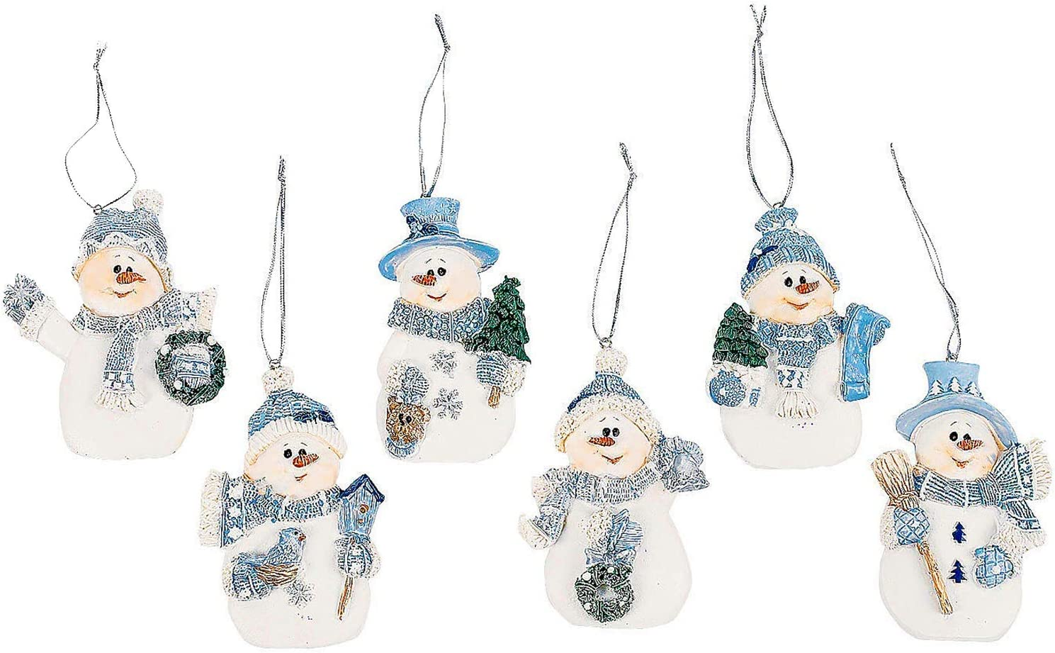 4E's Novelty Resin Blue Snowman Christmas Ornaments for Christmas Tree Decorations (12 Pack) White & Blue Hanging Snowman, Xmas Tree Décor Bundled with Stickers