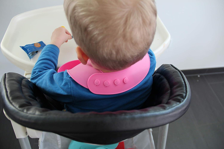 wasserdicht abwaschbar Babyl/ätzchen mit Auffangtasche 1, Blau fleckenunempfindlich sp/ülmaschinengeeignet L/ätzchen mit Auffangschale aus weichem Silikon f/ür Babys und Kinder