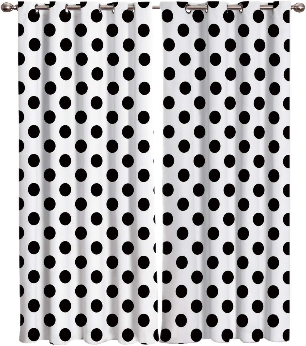 SIMIGREE Window Curtains Black and White Polka Dots Window Treatment Thermal Insulated Fabric Curtains for Living Room Bedroom Sliding Patio Door Kitchen Window Drapes 52