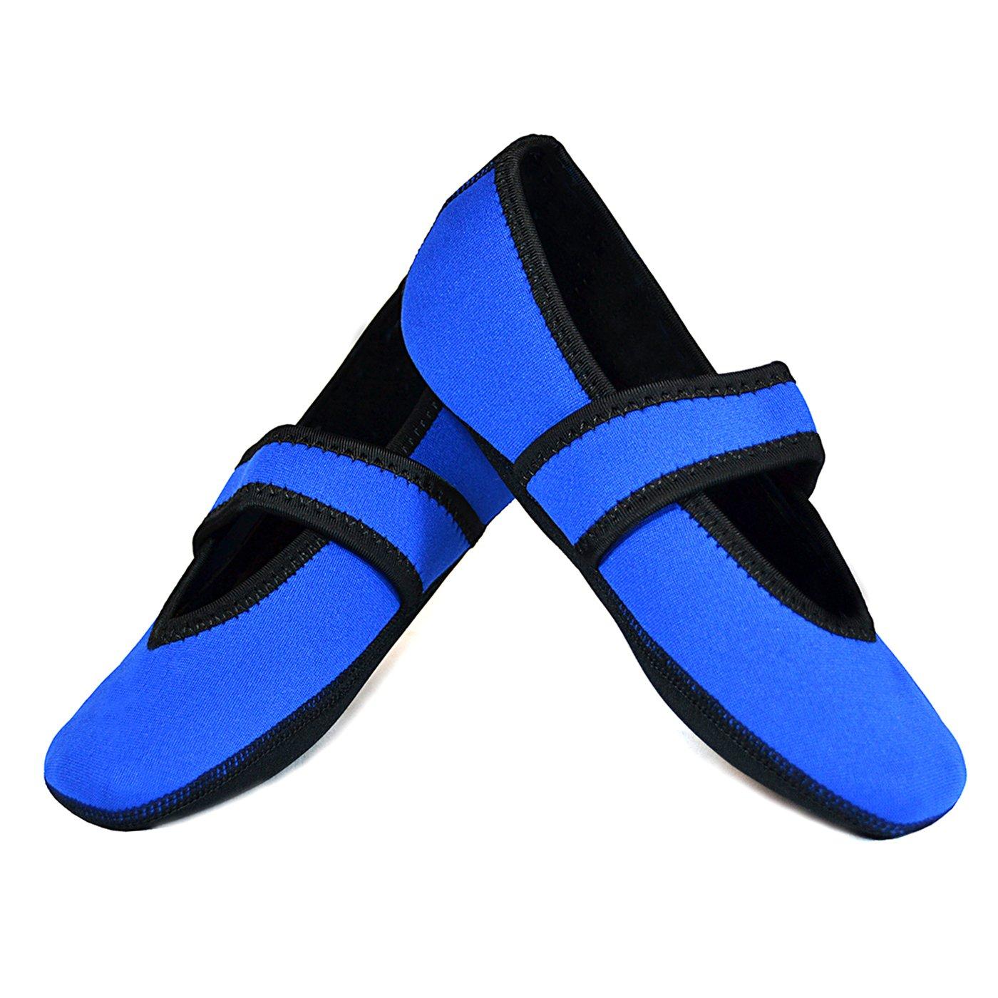 Nufoot Betsy Lou Women's Shoes, Best Foldable & Flexible Flats, Slipper Socks, Travel Slippers & Exercise Shoes, Dance Shoes, Yoga Socks, House Shoes, Indoor Slippers, Royal Blue, X-Large