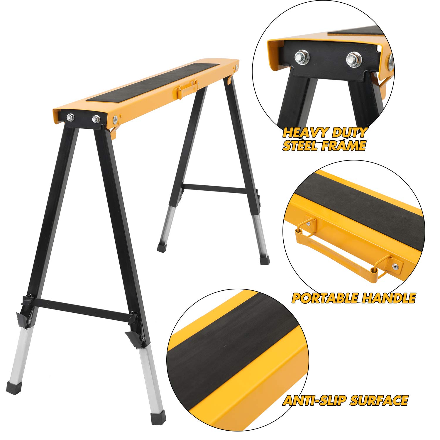 2 Pack Adjustable Saw Horse w/Clamps and Handle Heavy Duty Folding Portable Sawhorse 330lbs Weight Capacity Each by Hromee (Image #5)