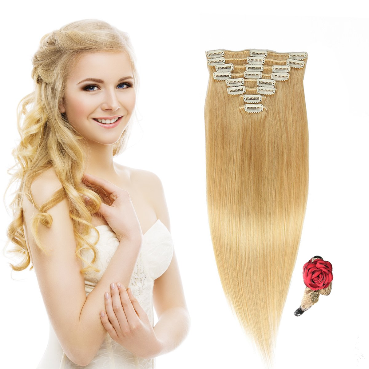 """10"""" Remy Hair Extensions Clip in Human Hair with 18clips 8pcs Soft Smooth Straight feeling for Lady (75g by gross, Bleach Blonde #613)"""