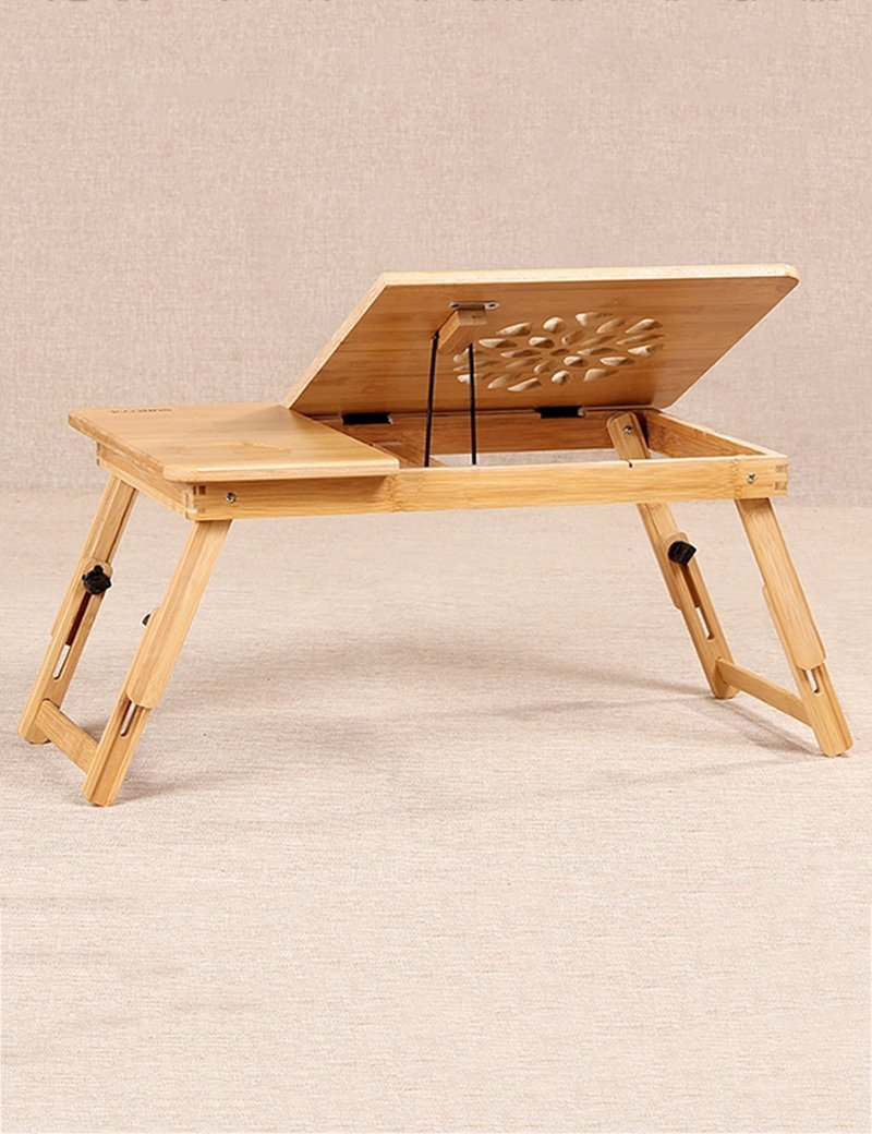 GUI Table-Bamboo with Cooling Holes Bed with Laptop Desk Small Desk,A-l