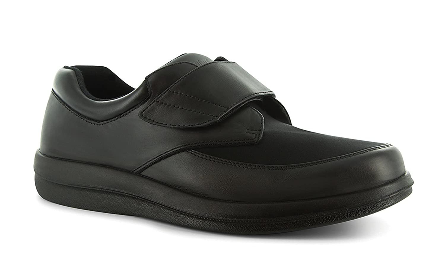 P W Minor Natural Men's Therapeutic Diabetic Extra Depth Shoe Leather/Lycra Velcro 12.5 E US Men|Black