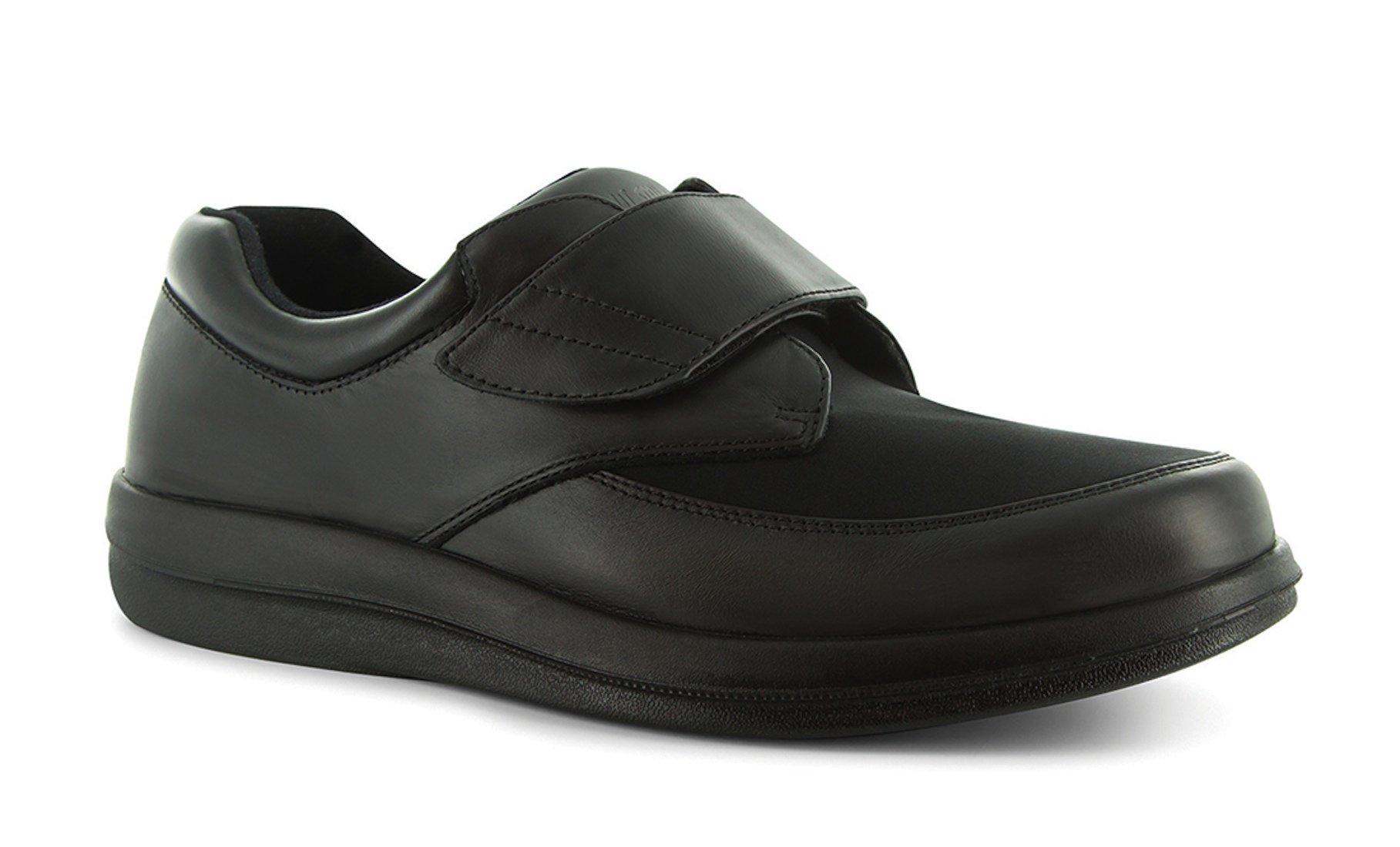 P W Minor Natural Strap Men's Therapeutic Extra Depth Shoe: Black 14 XX-Wide (5E) Velcro